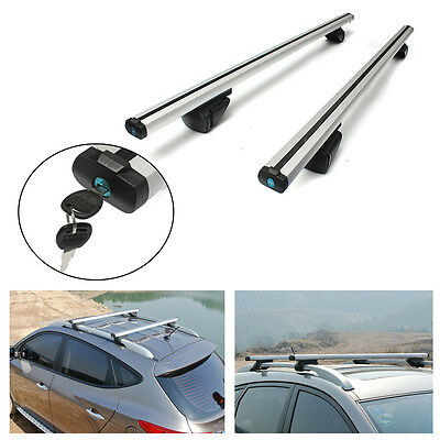 135cm UNIVERSAL CAR ROOF AERO BARS RACK ALUMINIUM LOCKING CROSS RAILS With KEYs
