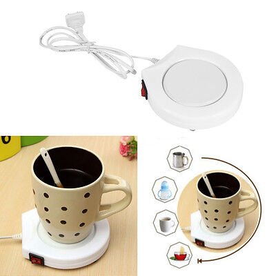 Safe White 110V Electric Powered Cup Coffee Water Milk Warmer Heater Pad US Plug