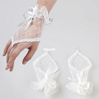 Women Lady White Lace Party Dress Evening Wedding Bridal Fingerless Gloves 4156