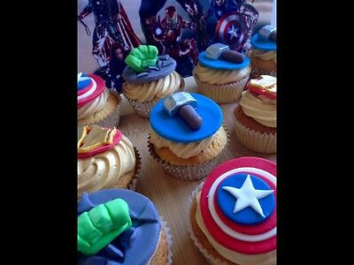 Superhero cupcake toppers avengers edible decorations