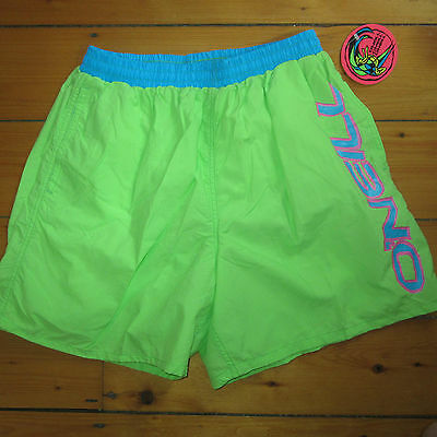 vtg NOS mens 32 to 34 O'NEILL day-glo Surfer lined SWIM SUIT Trunks Boardshorts