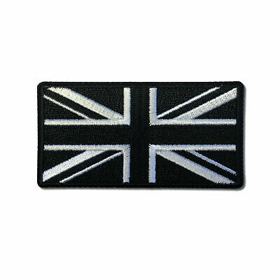 "Embroidered 3"" British UK Flag Black and White Iron on Patch Biker Patch"