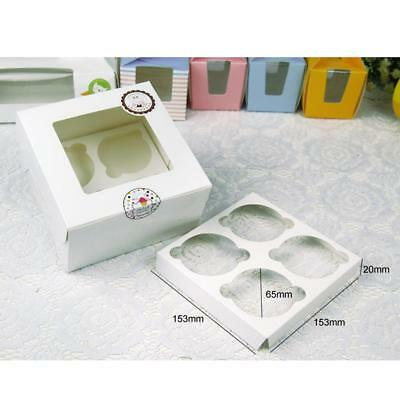 10pcs Cupcake Box 4 Cup Storage Gift Box Muffin Holder Box Container Carrier