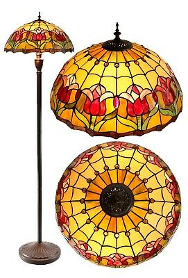 "Large 18"" Colonial Tulip Style Stained Glass Tiffany Floor Lamp"