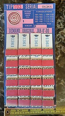 "JAR-O""-DO VINTAGE GAMBLING PULL TAB CARD. Near mint condition. NOS."