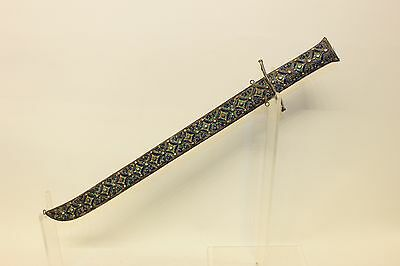 Antique Original Silver Enamel Amazing Asian Coral Decorated Big Dagger