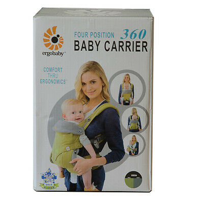 ERGOBABY 360 4 Position baby carrier/ GREEN / NEW with BOX and BOOKLET