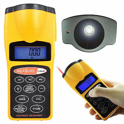 Digital Ultrasonic Distance Meter Tape Measure & Laser Pointer With Backlight UK
