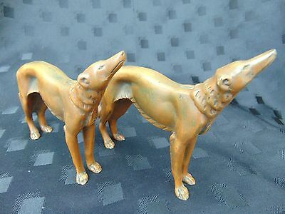 Pair Vintage Bronze Art Deco Borzoi Russian Wolfhound Hunting Dogs