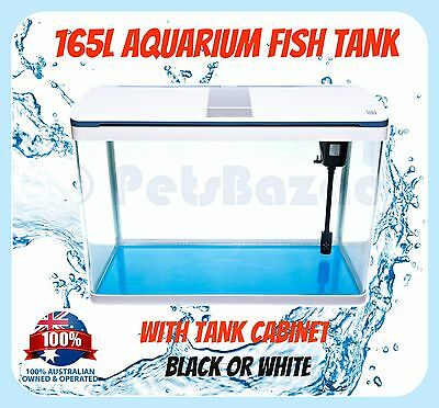 AQUARIUM FISH TANK - 165L with CABINET SMD LED Light Pump Package Glass