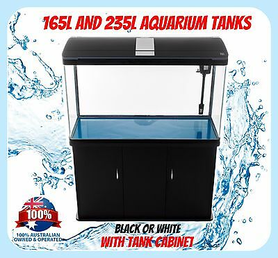 AQUARIUM FISH TANK - 165L 235L with Cabinet SMD LED Light Pump Glass 3ft 4ft