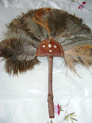 Vintage African ostrich feather fan orange brown feathers leather handle