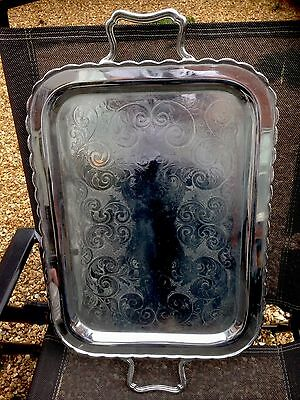 Large Antique Marlboro Silver Plated on Solid Copper Twin Handle Tray 24.5 inch