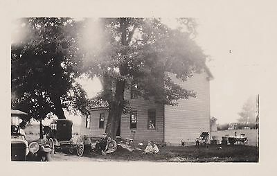 FAMILY RESTING AT THE FARM - 1920's * Horse & Buggy * Car * Large House & Trees