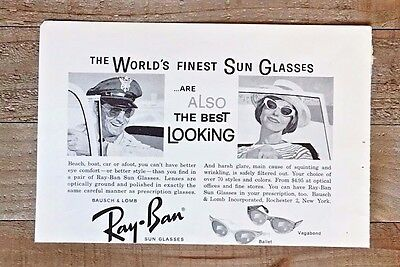 Original 1961 Ray Ban Worlds Finest Sunglasses Best Looking Vintage Art Print Ad