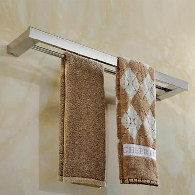 Stainless Steel Double Towel Bar Square Wall Shelf Rack Wall Mounted Holder