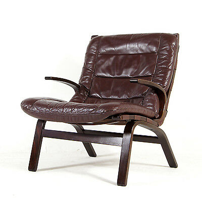 Retro Vintage Danish Farstrup Leather Lounge Armchair Chair 60s 70s Mid Century