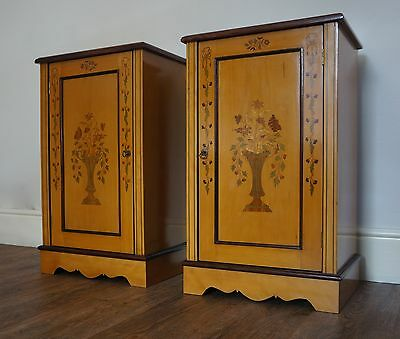 Fine Pair Antique Edwardian Style Satinwood Bedside Cabinets Cupboards