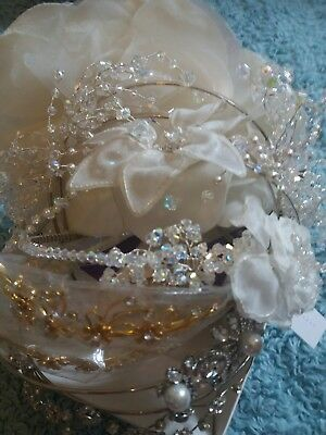 10 tiaras headpiece crystal headband joblot weddind bridal flower pearl