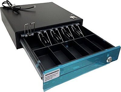 """Stainless Steel"" Front Heavy Duty Black POS Cash Drawer with 5Bill/5Coin"