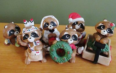 Vtg Lot of 6 Enesco Kathy Wise 1980's Porcelain Bisque Raccoon Figurines