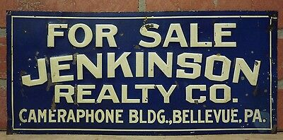 Old JENKINSON REALTY Co CAMERAPHONE Bldg BELLEVUE PA Embossed Tin Adv Sign
