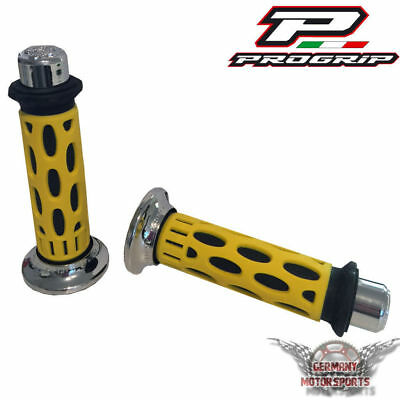 Scooter Handlebars Grips Rubber Yellow Chrome Progrip 768 UNIVERSAL 0 7/8in