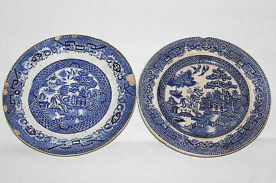 Two Antique English Staffordshire Pottery L. Straus & Sons NY Plates Blue Willow