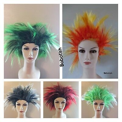 Short Spiky Punk Rocker 80s WIG Women ladies Multi coloured Fancy Dress Costume
