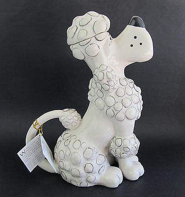 Poodle Collectable Dog Teapot  Ceramic White Blue Sky