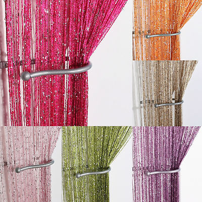 STRING DOOR CURTAIN Home Window Panel Room Divider Tassel Crystal