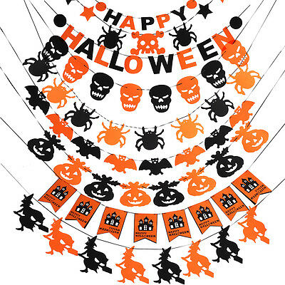 Happy Halloween Fabric String Banner Hanging Bunting Flag Garland Party Decor TP
