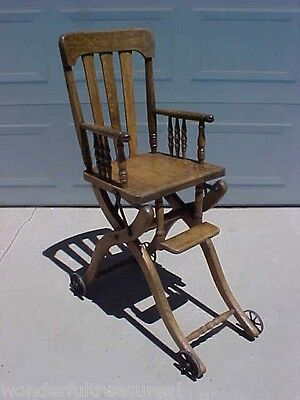1800's Antique Oak Child's COLLAPSIBLE High Chair Scooter Walker METAL Wheels