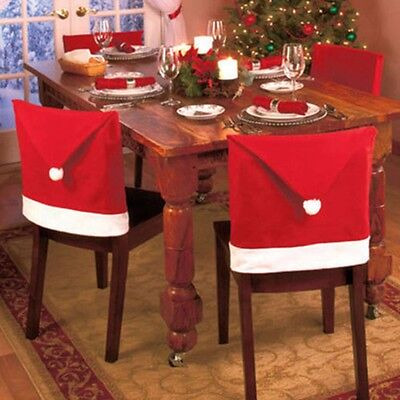 6pc Chair Back Covers Red Santa Clause Hat For Christmas Dinner Seat Party Decor
