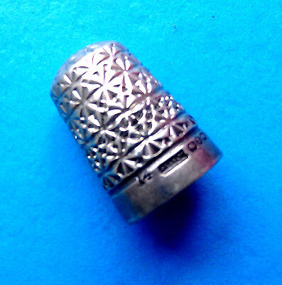 Antique Sterling Silver Fancy Design  Sewing Thimble Dated 1899