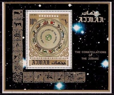 Ajman 1972 Lunar Zodiac Signs Astrology Constellation Stars Space m/s perf MNH