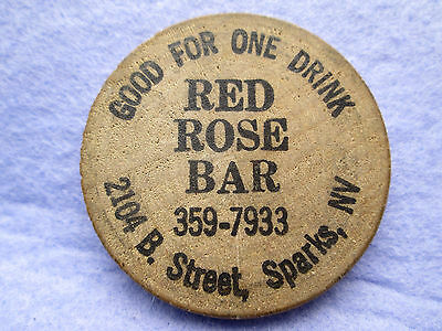 80's • Red Rose Bar • Sparks, Nevada Wooden Nickel Drink Token - Fast Shipping!