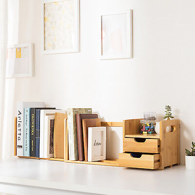 Ollieroo Bamboo Desk Organizer with Extendable Storage Drawers for Office & Home