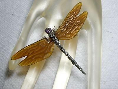 NOS Vintage Lucite DRAGONFLY Brooch Signed MMA Metropolitan Museum of Art