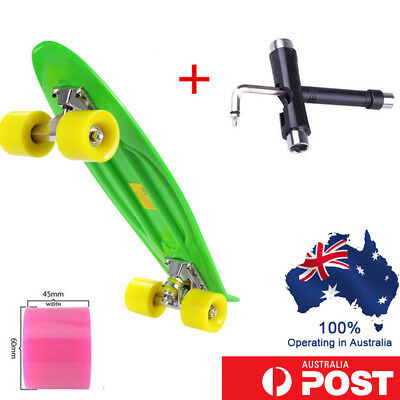 Skateboard Fish Mini Cruiser Banana Penny Deck Complete Board School +T-tool 22""