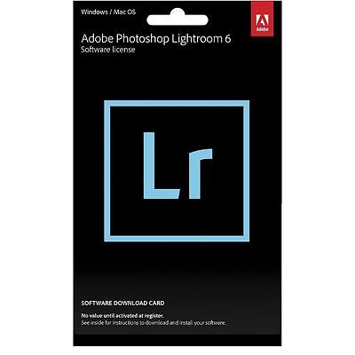 Adobe Photoshop Lightroom 6 PC or MAC Full Commercial License GST INV