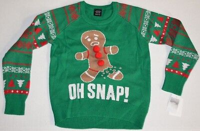 NEW Kids Green Funny OH SNAP Long Sleeve Holiday Christmas Winter Sweater XS 4-5