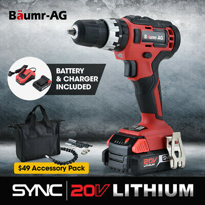 NEW BAUMR-AG 20V Lithium Cordless Hammer Drill Electric Masonry Drilling Tool