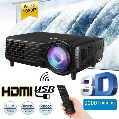 2k Lumens 3D 1080P FHD LED WiFi Projector Home Cinema Android Multimedia TV HDMI