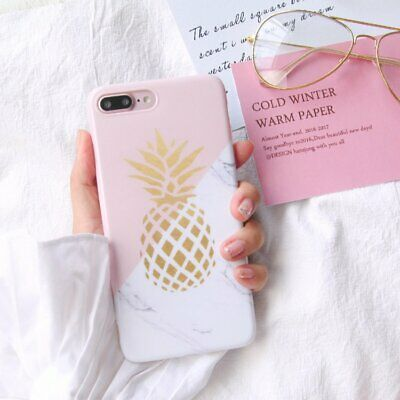Shockproof Granite Marble Pineapple Soft Phone Case Cover for iPhone X 7 Plus 6s
