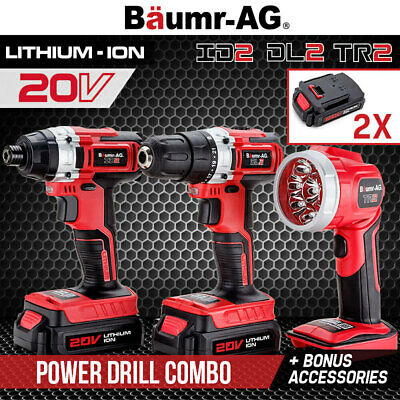 Baumr-AG 20V Lithium Drill Kit Cordless Drill Impact Driver LED Torch Tool Bag