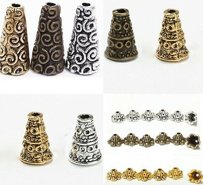 Wholesale 50pcs Tibetan Antique Silver Cone Bead Caps End Beads Findings