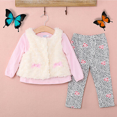 Hot Baby Kids Girls Clothes Floral T-shirt Tops + Leggings+Vest 3pcs Outfit Sets