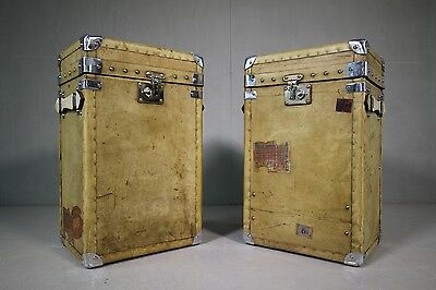 Pair of Leather Trunks in Edwardian Antique Vellum.