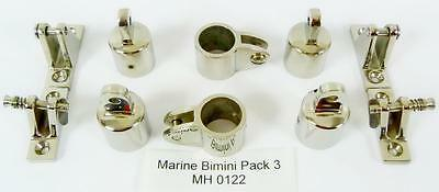 Marine Bimini Canopy Stainless Steel fittings  pack 3 MH 0122